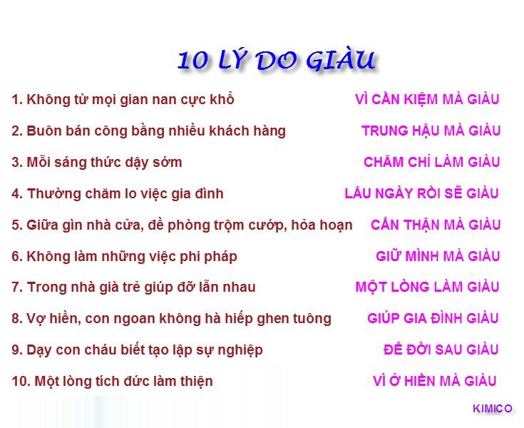 10 lý do giúp bạn giàu có, ...