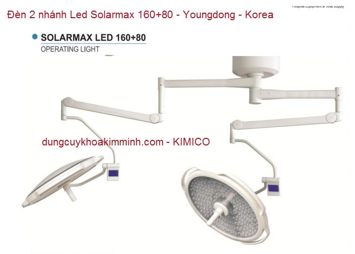 Đèn y tế phẩu thuật 2 nhánh Led Solarmax 160+80