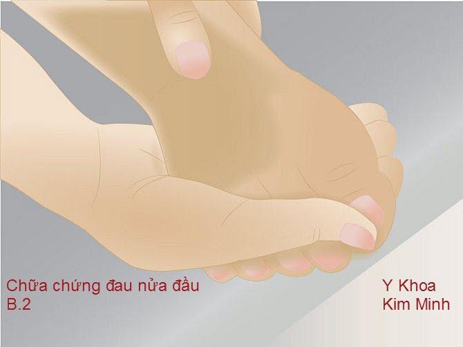 Dùng ngón cái tay phải day 3 đầu ngón chân trái trị đau đầu cấp tính