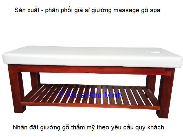 Giường massage thẩm mỹ spa gỗ thông GKM-10 Y Khoa Kim Minh
