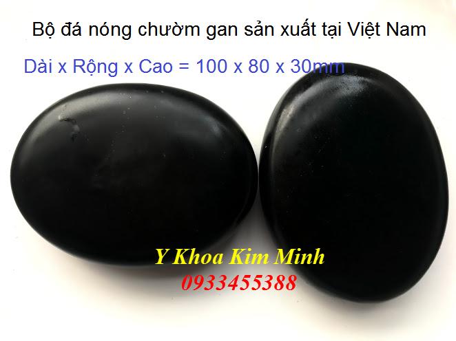 Bộ đá nóng chườm gan thận sản xuất tại Việt Nam, nguồn đá khoáng sản Bình Định - Y Khoa Kim Minh 0933455388