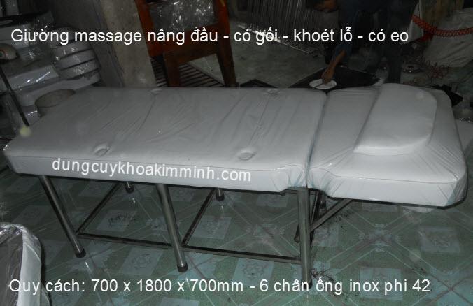 Giường massage nâng đầu dùng Facial bằng inox tốt Y Khoa Kim Minh