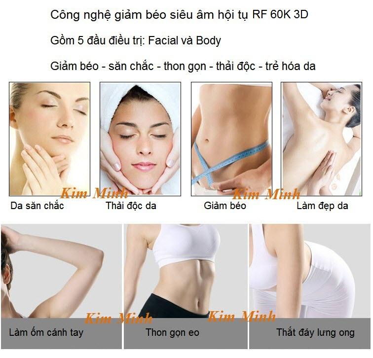 Điều trị giảm béo bằng công nghệ siêu âm hội tụ RF 60K 3D Hoa Kỳ - Y Khoa Kim Minh 0933455388