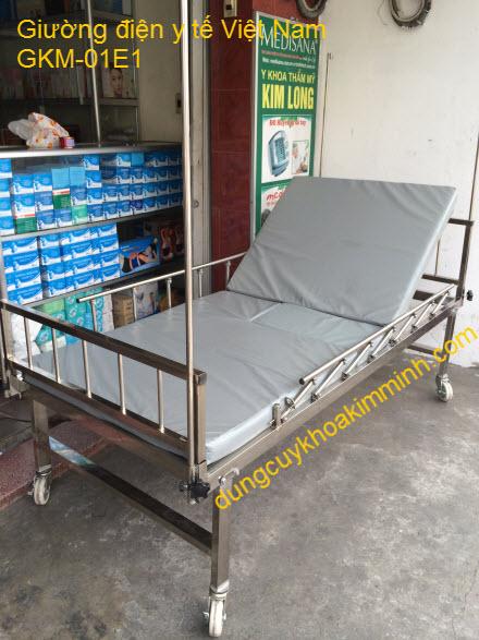 Giường điện y tế 1 tay quay sản xuất Việt Nam GKM-01E1