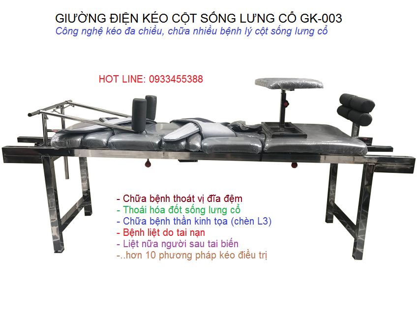 2019 Giường kéo giãn cột sống lưng cổ, chữa thần kinh tọa GK003 Y Khoa Kim Minh 0933455388