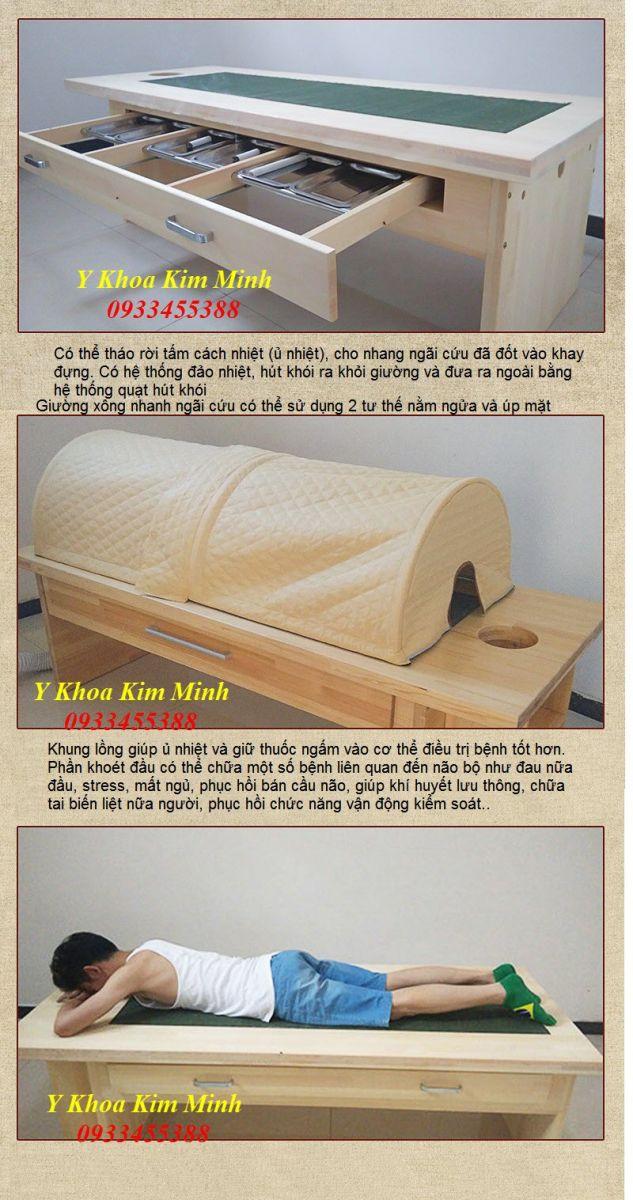 Địa chỉ bán giường xông thuốc chữa bệnh, giường xông nhang ngãi cứu bằng gỗ - Y khoa Kim Minh 0933455388