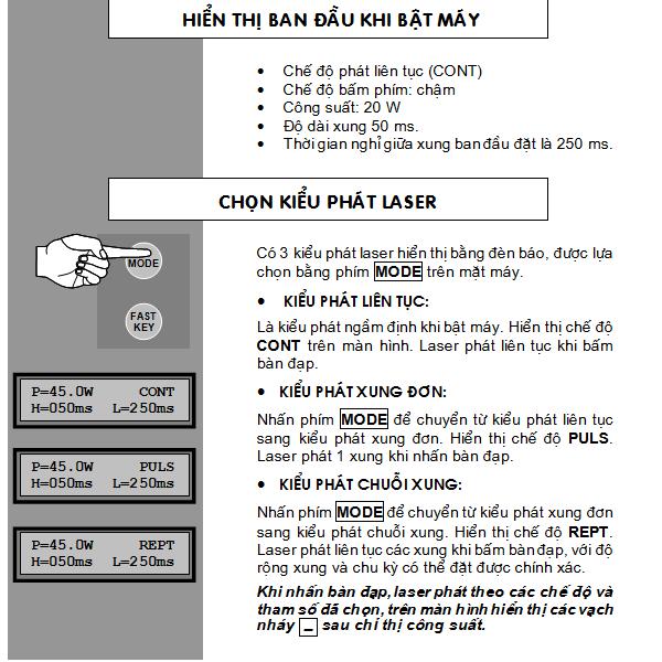 Hướng dẫn sử dụng, thông số kỹ thuật máy cắt đốt laser Co2 Y Khoa Kim Minh