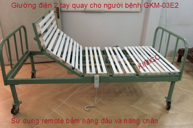 Giường điện 2 tay quay y tế người bệnh GKM-03E2