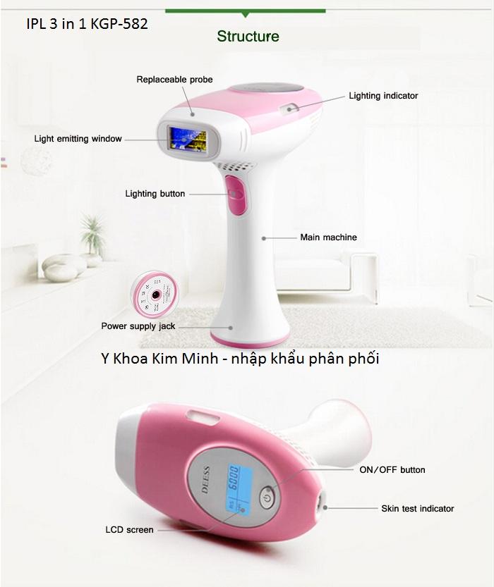 Máy triệt lông cầm tay đa năng mini KGP-582 nhập khẩu bán trực tiếp Y Khoa Kim Minh