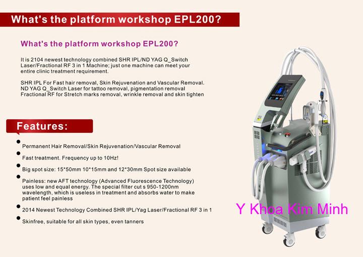 Máy triệt lông siêu nhanh SHR Super Hair Removal EPL200 Y khoa Kim Minh