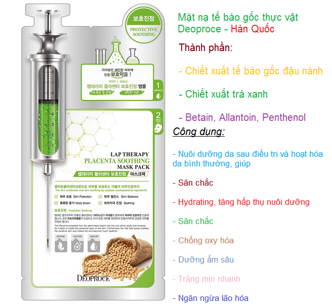 Noi ban mat na duong da te bao goc chong lao hoa Placenta Deoproce Han Quoc - Y Khoa Kim Minh 0933455388