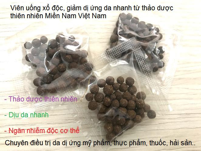 Viên thuốc điều trị dị ứng da bởi mỹ phẩm, kem chăm sóc da, hải sản, thực phẩm, thuốc uống, côn trùng cắn bằng thảo dược Đông y Miền Nam Việt Nam - Y khoa Kim Minh