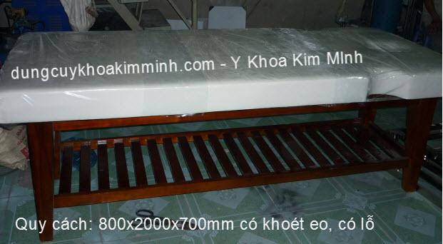 Giường massage gỗ có khoét eo 700x2000x700 có lỗ Y Khoa Kim Minh