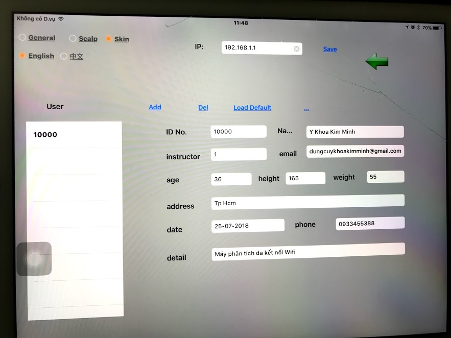Phần mềm phân tích lưu trữ thông tin người kiểm tra da của máy soi da mini qua ipad wifi - Y Khoa Kim Minh 0933455388