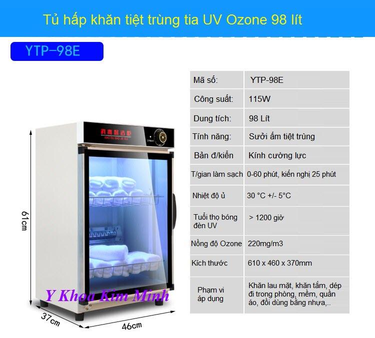 Thong so ky thuat tu hap tiet trung khan UV Ozone YTP-98E - Y Khoa Kim Minh 0933455388