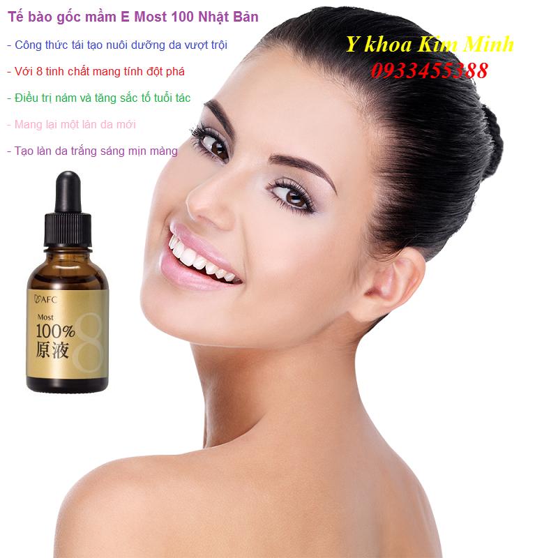 Điều trị nám sạm, giúp làn da trắng mịn từ tế bào gốc mầm E Most 100% AFC đến từ Nhật Bản bán tại Y Khoa Kim Minh 0933455388