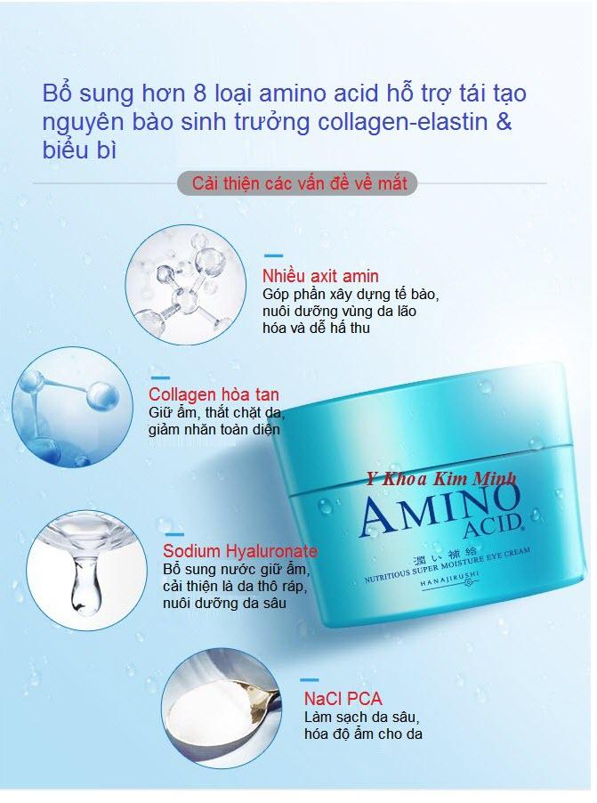 Thành phần kim trị thâm sạm nhăn bọng  mắt amino acid Cream Hanajirushi Nhật Bản - Y khoa Kim Minh