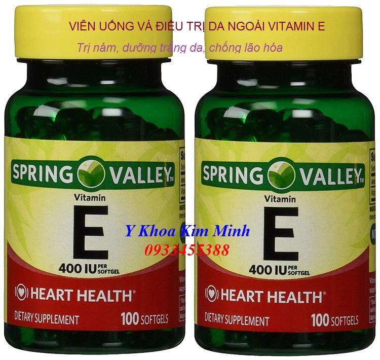 Vien vitamin E Spring Valley trị nám, trắng da, làm mặt nạ chống lão hóa - Y khoa Kim Minh 0933455388