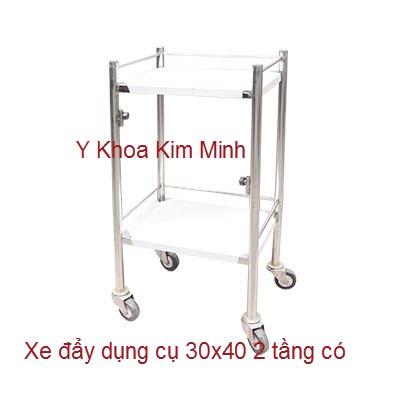 Xe đẩy dụng cụ tiêm chích thuốc inox 30x40