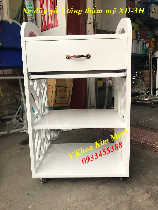 Xe đẩy gỗ thẩm mỹ 3 tầng màu trắng XD-3H bán tại Y khoa Kim Minh 0933455388