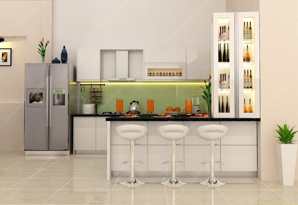 Quầy bar che gian bếp dùng thuật Phong Thủy áp dụng Y Khoa Kim Minh