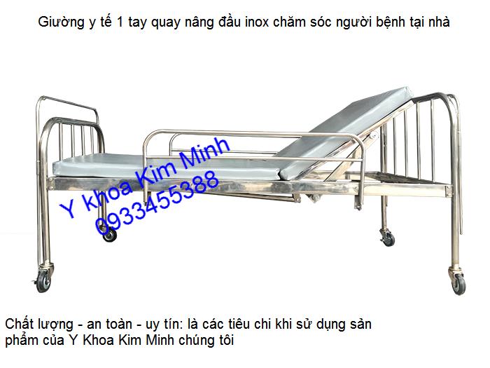 Giuong benh y te nang dau 1 tay quay inox san xuat cung cap tai y khoa kim minh