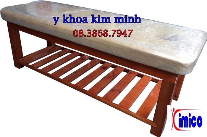 Giường massage thẩm mỹ spa gỗ thông