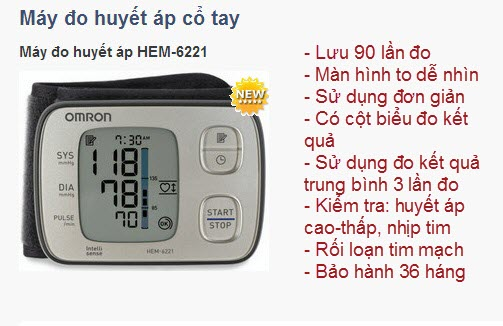 Máy huyết áp cổ tay Omron Hem-6221