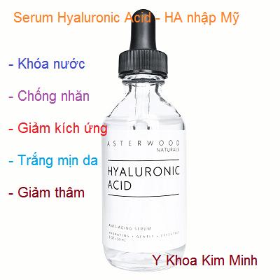 Serum HA Hyaluronic Acid cang bong da giam kich ung Asterwood nhap khau My - Y khoa Kim Minh