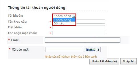 Thông tin đăng nhập website Kim Minh