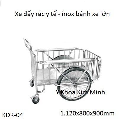 xe đay rac y te banh xe lon chat luong cao inox SUS-201