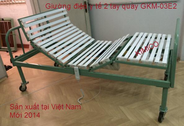 GIƯỜNG ĐIỆN Y TẾ 2 TAY QUAY GKM-03E2