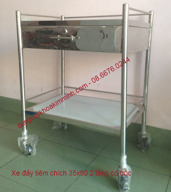 Xe đẩy tiêm thuốc 35x50 inox