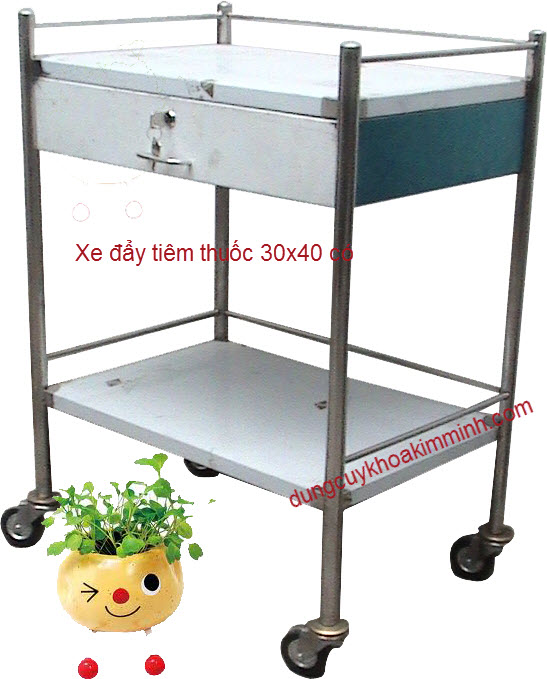 Xe đẩy tiêm thuốc 40x60 2 tầng có hộc