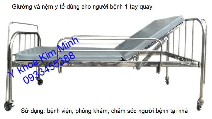 Bán giường và nệm y tế người bệnh nâng đầu 1 tay quay