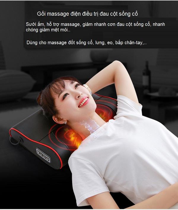 Gối massage điện điều trị đau cột sống cổ C17