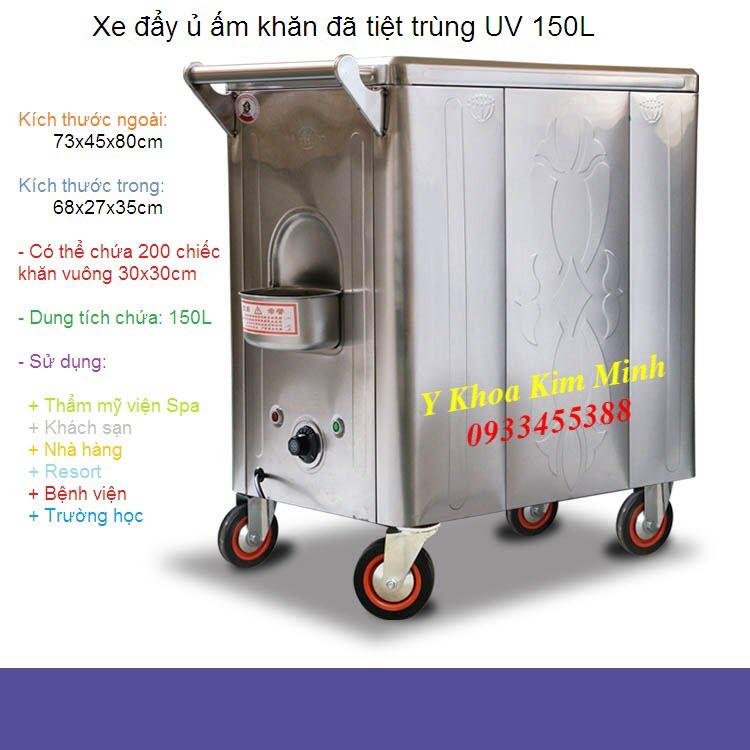 Xe đẩy khăn ủ ấm đã tiệt trùng UV 150L