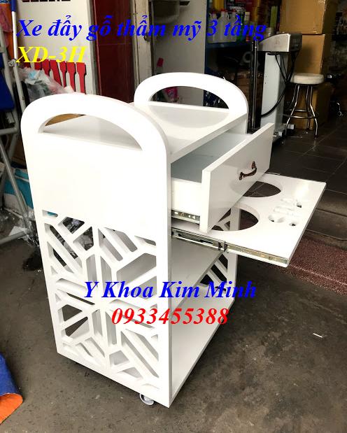 Xe đẩy gỗ thẩm mỹ 3 tầng XD-3H