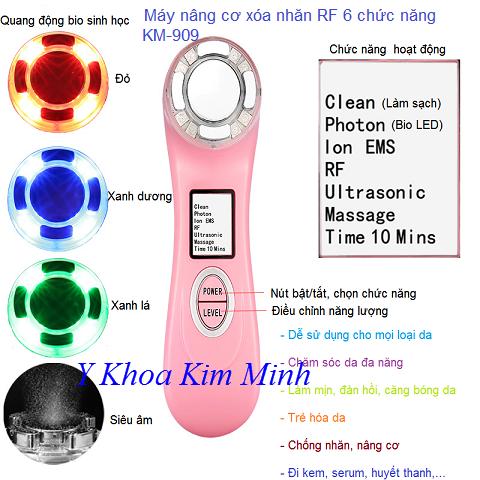 Máy RF mini 6 chức năng trẻ hóa trắng da KM-909