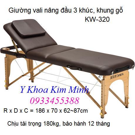 Giường vali chân gỗ nâng đầu 3 khúc KW-320