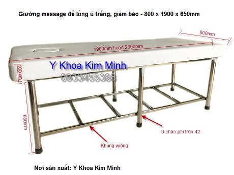 Giường mat xa inox để lồng hấp ủ trắng Kim Minh