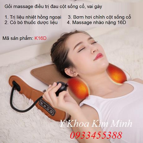 Gối massage trị liệu đau cổ vai gáy K16D
