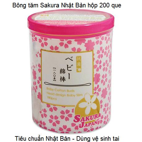 Bông tăm Sakura Nhật Bản hộp 200 que giá sỉ