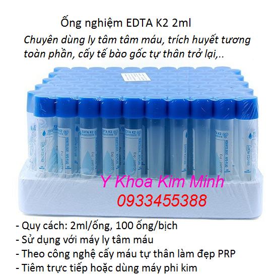 Ống nghiệm EDTA K2 2ml dùng cho máy ly tâm PRP