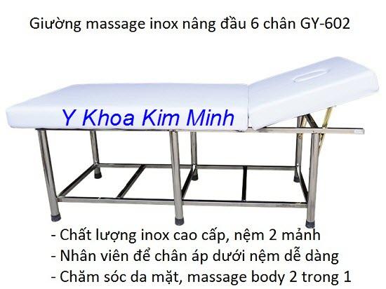 Giường massage inox 6 chân nâng đầu GY-602