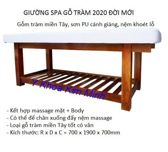 Giường spa gỗ tràm 2020 đời mới