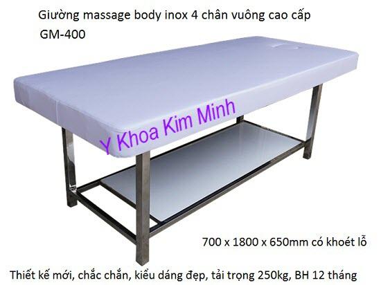 Giường massage body inox 4 chân vuông GM400