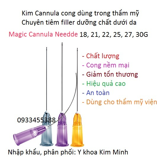Kim cannula cong 22G, 25G, 27G, 30G tiêm dưỡng chất, filler