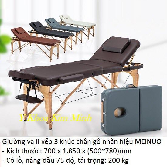 Giường vali xếp 3 khúc chân gỗ Meinuo