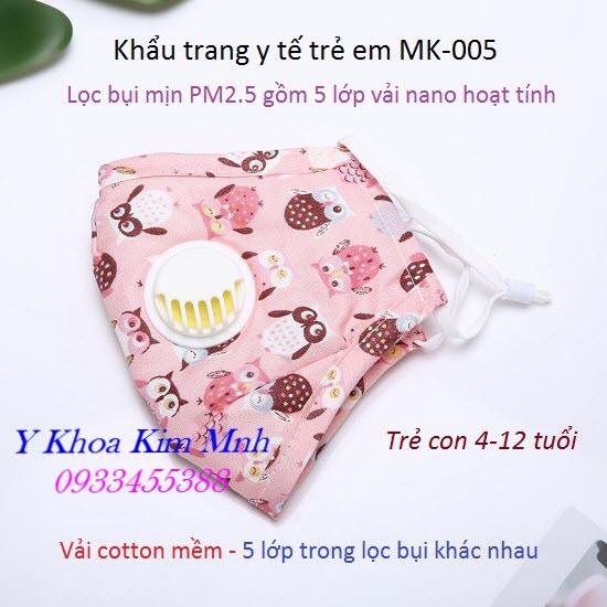 Khẩu trang y tế trẻ em 5 lớp lọc bụi mịn PM2.5 MK-005